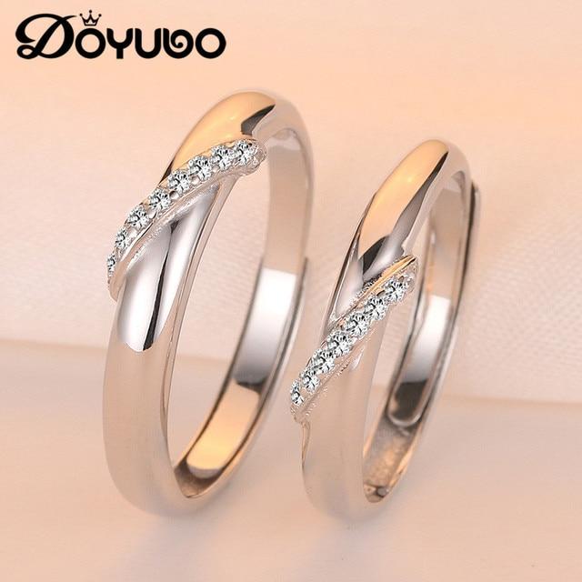 DOYUBO Elegant 925 Sterling Silver Couples Rings High Qaulity Romantic Men & Women Cubic Zirconia Lover Rings Fine Jewelry VB249