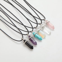 Hexagonal Column Necklaces Natural Crystal Pendants Pink Purple Stone Pendant Leather Chains Necklace For Women Fine Jewelry(China)