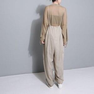Image 3 - [Eam] 2020 nova primavera cintura alta drawstring solto tamanho grande longo wasy vestindo calças perna larga calças femininas moda jf545