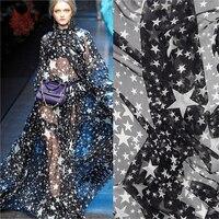 Black white star print 100% silk chiffon fabric for dress silk natural tissue telas tecidos stoffen 6mm free shipping SP1527