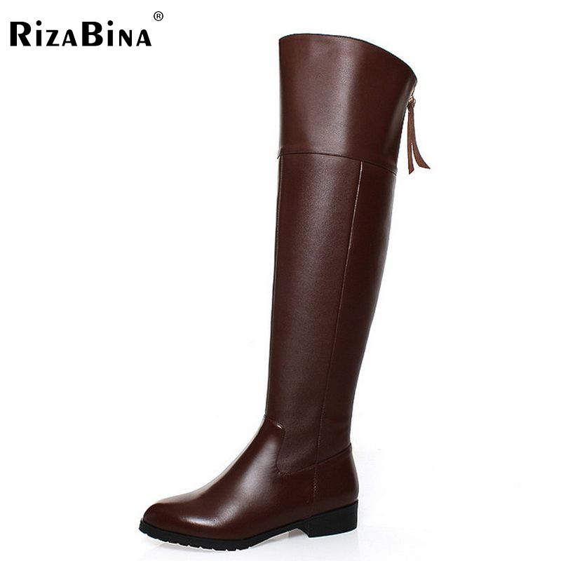 RizaBina Free shipping over knee long boots natural real genuine leather boots women boot high heel shoes R5017 EUR size 34-42