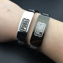 Game PUBG Bracelet Silica Gel Stainless Steel Wristband Cosplay Costumes Accessories Laser Printing Bracelet Christmas Present