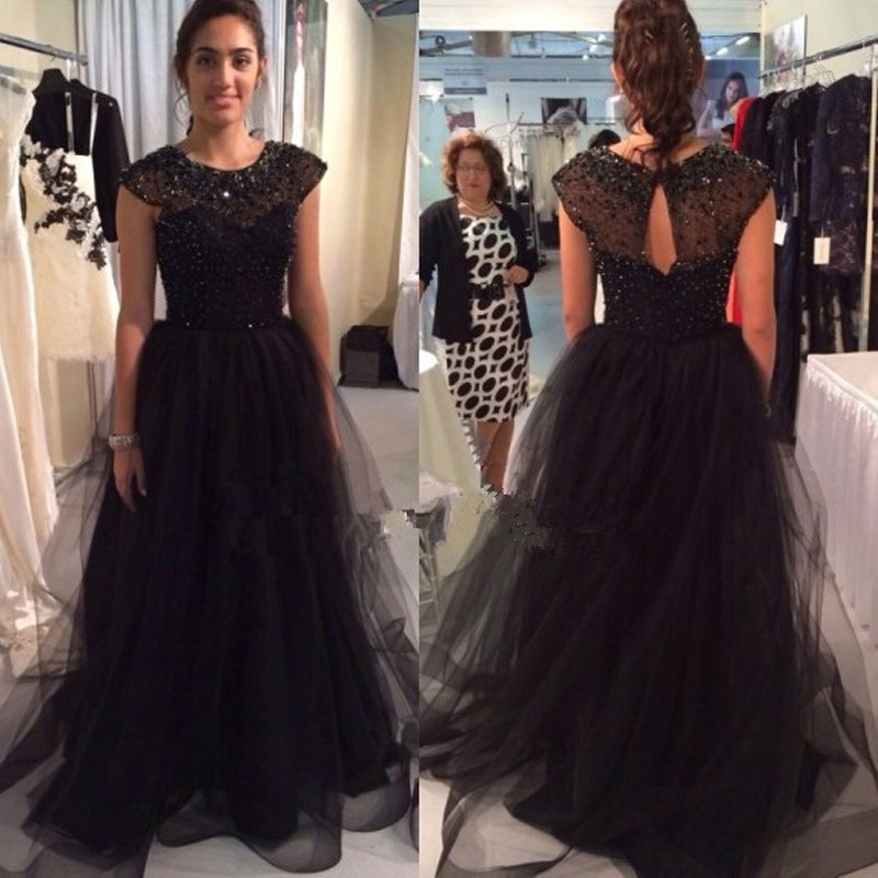 Black Fitted Prom Dresses 2017 Modest Sheer Beading Tulle Vestidos De Gala O Neck Imported Party