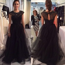 Black Fitted Prom Dresses 2017 Modest Sheer Beading Tulle Vestidos De Gala O-Neck Imported Party Dress A-Line Evening Gowns