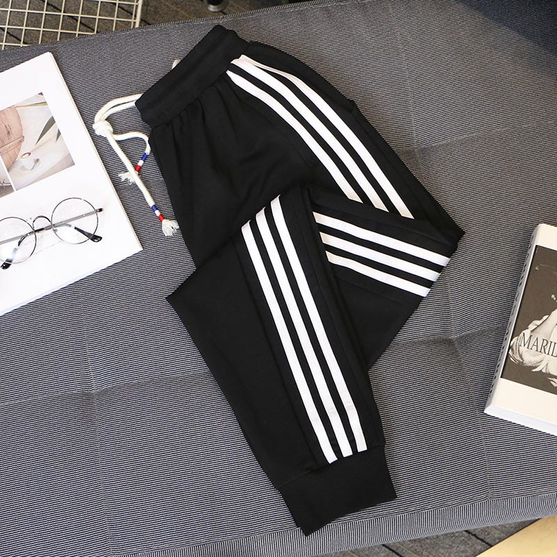 Spring And Autumn 2020 Ladies Casual Harem Pants Black White Striped Printed Side Pant Women Loose Trousers 5XL Big Size C1115
