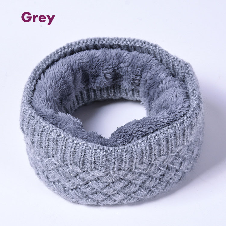 Faux Fur Solid Color snood Winter Warm Knitted scarf ring Thick Fleece Inside Elastic Women Children neck Warmers Neckerchief