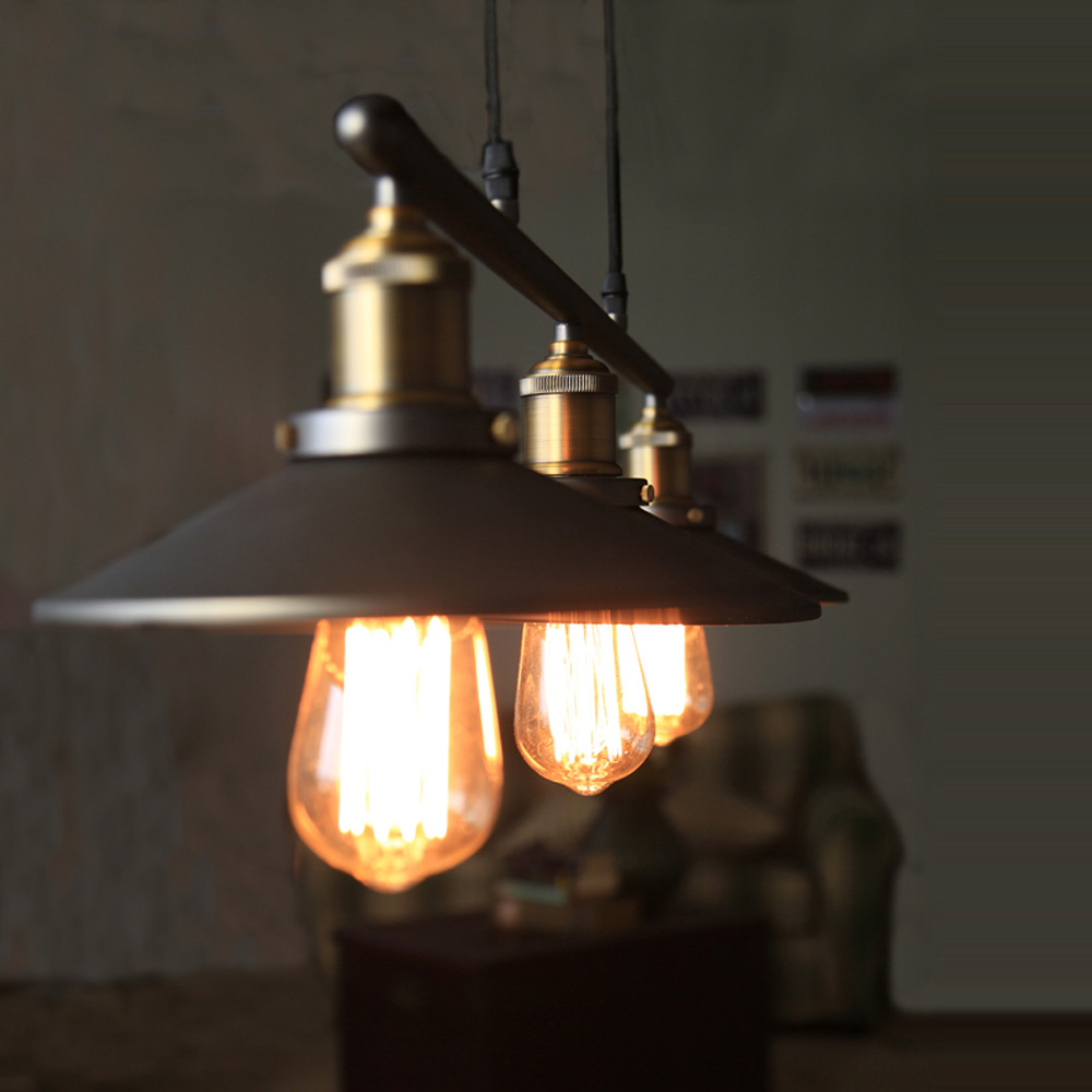 aliexpresscom buy industrial country creative pulley design black iron hang painted ceuling light dining roombar retro hanging lamp 3 heads from room lighting