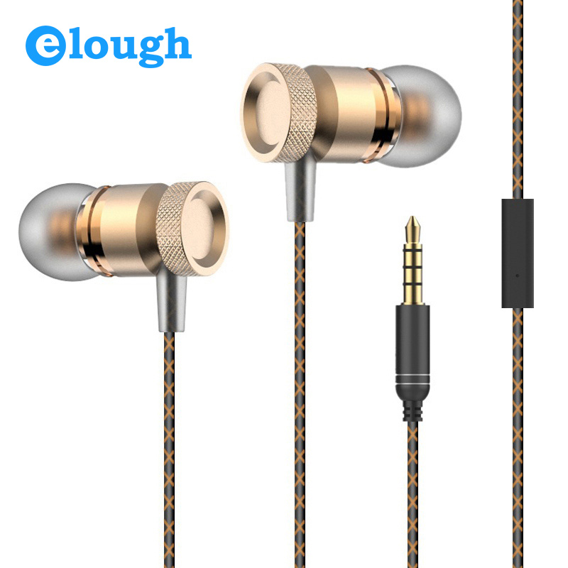 Elough Professional In-Ear Earphone For Phone Bass Headset With Microphone Metal Stereo Headphones For Computer PC Samsung Sony original xiaomi mi hybrid earphone in ear 3 5mm earbuds piston pro with microphone wired control for samsung huawei p10 s8
