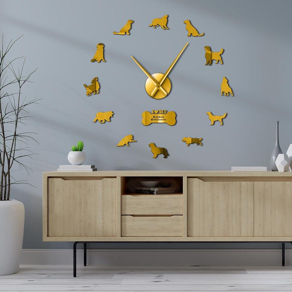 Golden Retriever Wall Clock Dog Pet Mirror Wall Stickers DIY Giant Wall Clock Retriever Dog Artwork Animal Frameless Wall Watch