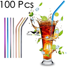Colorful 100pcs Straws + 10pcs Brushs Straight Or Bent Metal Drinking Straw Stainless Steel Reusable For Beer Fruit Juice