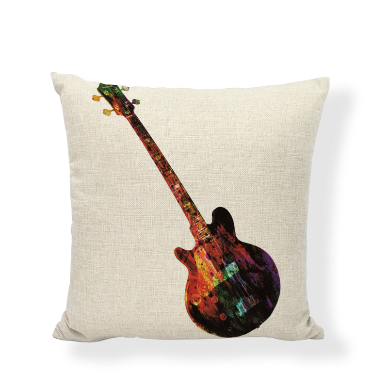 US $2 96 19% OFF|Gifts New Music Throw Cushion Covers Colorful Note Guitar  Violin Printed Home Decor Living Room Office Linen Cotton Pillow Cases-in