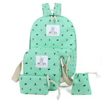 3 Pcs Set Canvas Printing Women Backpack With Purse Candy Color Casual School Bags For Teenage