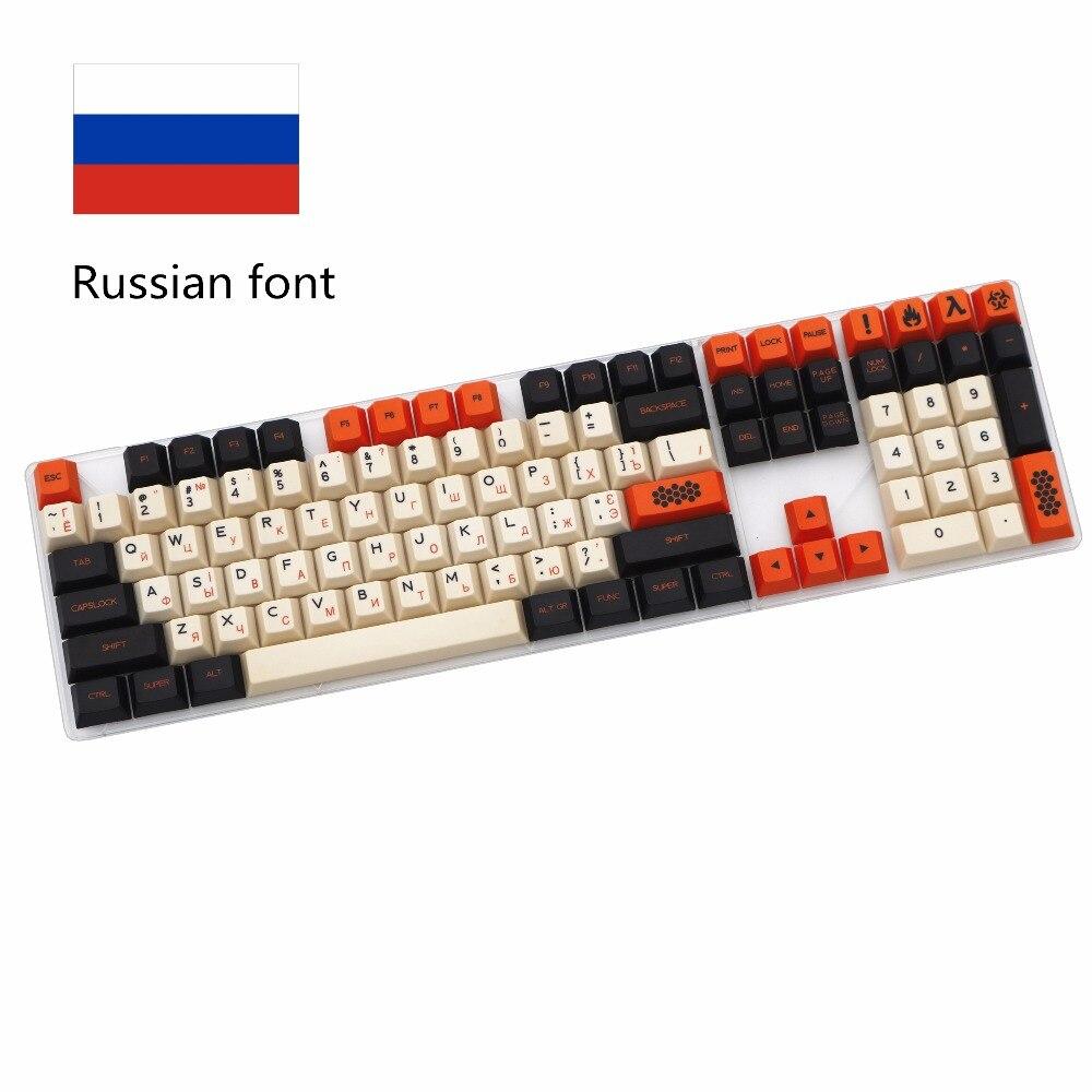 Couleur de carbone 125/172 Clé à la Sublimation Thermique Russe PBT cerise profil MX commutateur Pour Mécanique clavier keycap