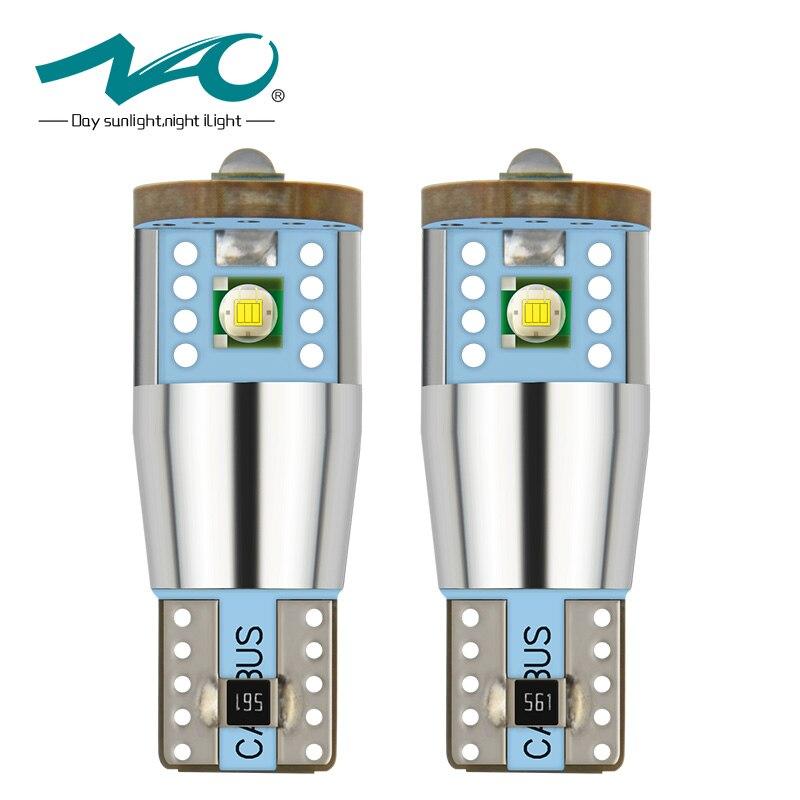 NAO 2x T10 LED CANBUS W5W led Bulbs NO ERROR Cree Chip Car interior light Xenon White 6000K High Power 3W 194 168 Lamp 12V 24V t10 3528 3w white light 21 led car signal light bulbs 2 pack dc 12v