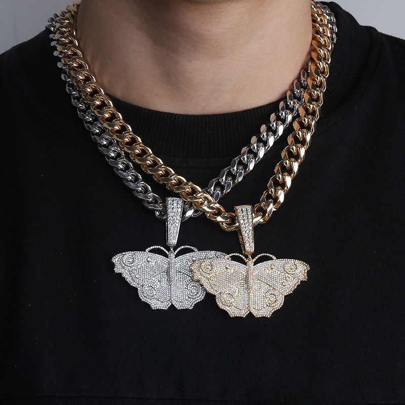 Hip Hop Micro Paved AAA Cubic Zirconia Bling Ice Out Animal Butterfly Pendants Necklaces for Men Rapper Jewelry Drop Shipping