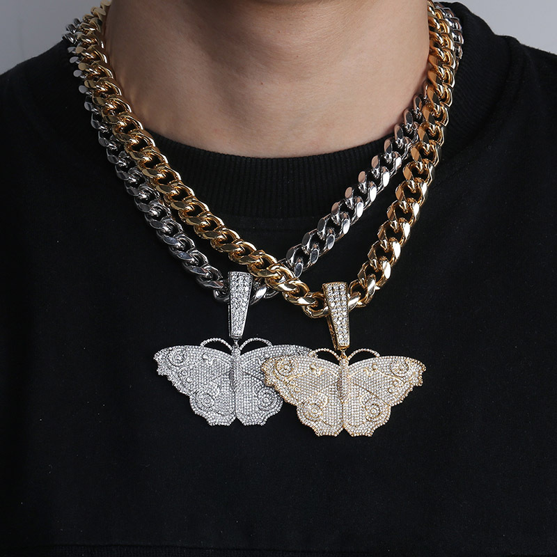 Hip Hop Micro Paved AAA Cubic Zirconia Bling Ice Out Animal Butterfly Pendants Necklaces for Men Rapper Jewelry Drop ShippingHip Hop Micro Paved AAA Cubic Zirconia Bling Ice Out Animal Butterfly Pendants Necklaces for Men Rapper Jewelry Drop Shipping