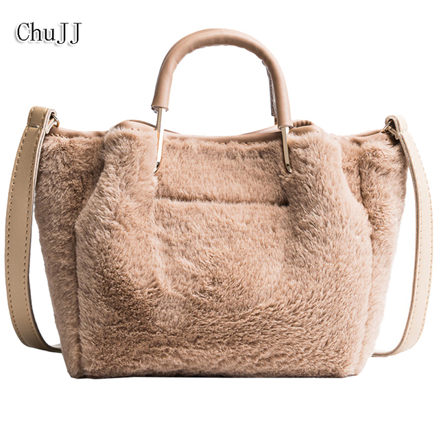 Chu JJ Hot Sale Winter Women Bags Fashion Faux Fur Bags For Ladies Velour Women  Handbags Trapeze Messenger Bag Bolsas Feminina 2d72ffee401f0