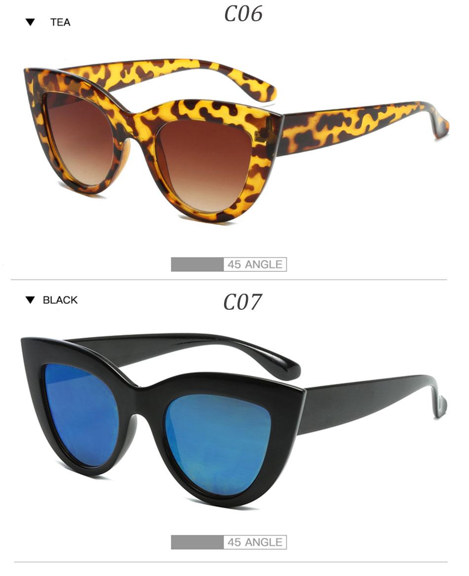 Black Classic Cat Eye Women Sunglasses Designer Brand Trend Style Glasses Adult Eyeglasses 9