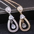 Simple Waterdrop Cz Champagne Gold&Platinum Plated Necklaces Pendant  Cubic Zircon Pendant Jewelry For Women Christmas Gift