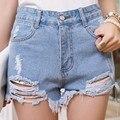 Las mujeres de Cintura Alta Agujero Borla Pantalones Cortos de Mezclilla Delgada Pantalones Cortos de Verano 2016