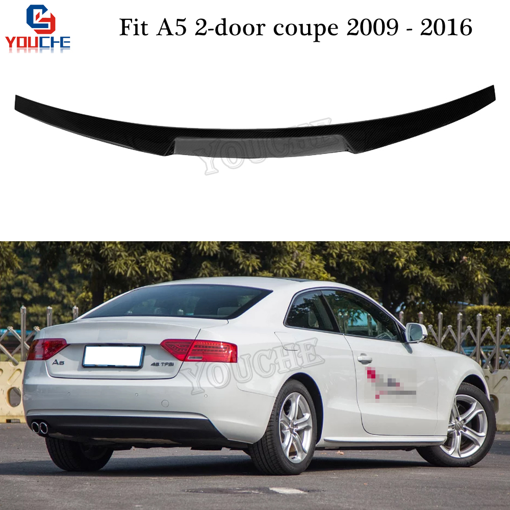 M4 Style Carbon Fiber Rear Spoiler Trunk Wing for Audi A5 2-door Coupe 2009 - 2016 Boot Lid Tail Lip Spoiler