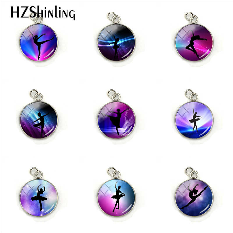 Elegant Beautiful Ballet Dancer Glass Cabochon Pendant Rainbow Pattern Hand Craft Jewelry Stainless Steel Plated Charms