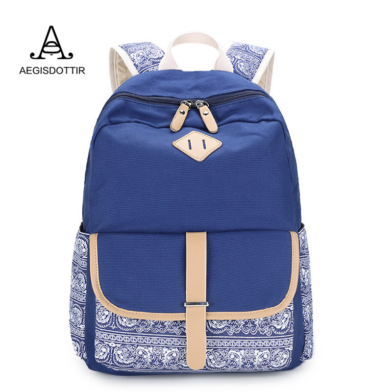 Floral Leather Belt Waterproof Backpack Preppy School Bag for Teenagers Backpack Canvas Printing Laptop Travel Bag Women Backbag