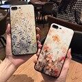 Nueva alivio floral design soft case para iphone 6 6 s 6 plus 6 s plus para iphone 7 7 plus cubre anti-caída para las mujeres del envío gratis