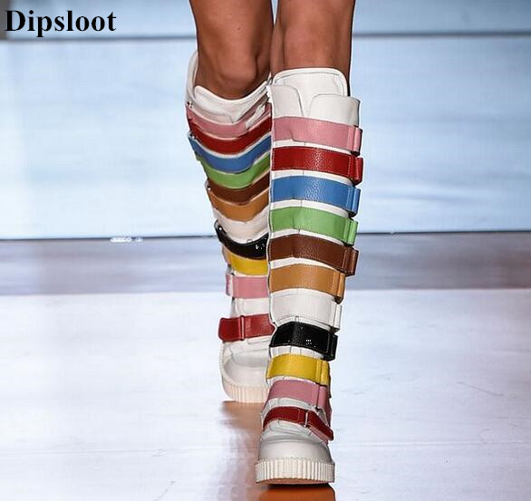 Dipsloot 2017 Mixed Color Knee High Boots Round Toe Women Casual Shoes Side Zipper Flat Casual Shoes Woman Free Shipping long side bang mixed color tail adduction stunning cosplay lolita synthetic wig for women
