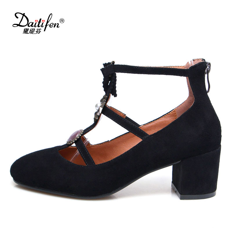 Daitifen Sweet women Leather high block heel shoes Metal decoration T-strap Pumps Stylish ankle strap Zip Solid Mary Jane shoes sweet elegant mary janes womens block high heel platform pumps lolita ankle strap shoes new 6 colors