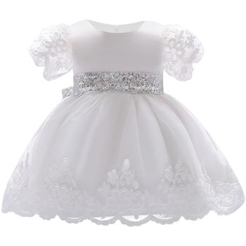 87adcb13c 2019 vestido de niña encaje blanco vestidos de bautismo para niñas 1 er año fiesta  de cumpleaños boda bautizo Bebé Ropa Infantil