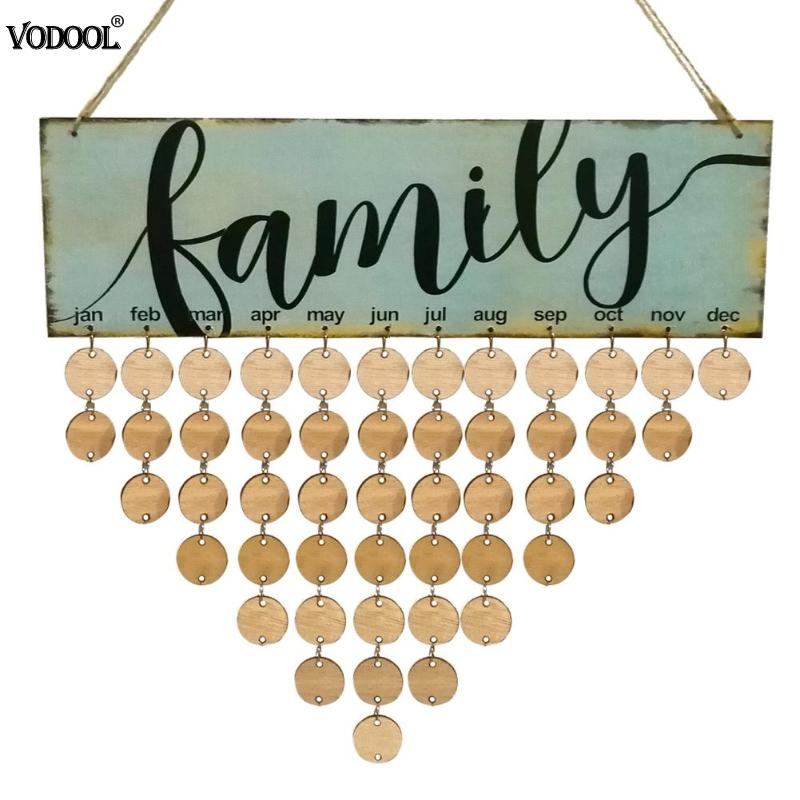 Exquisite Design DIY Wooden Hanging Calendar Family Birthday Special Dates Planner Birthday Board Sign Calendar Board Decor Gift oneforall urc 6440 simple
