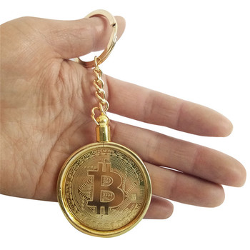Gold Plated Bitcoin Coin Collectible Gift BTC Coin Art Collection Keychain 38mm gold commemorative coins