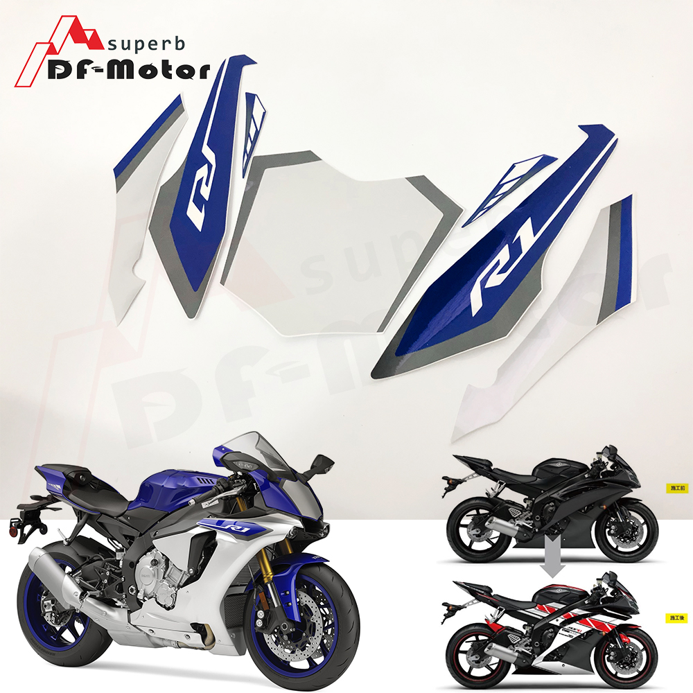 Screen Printing Motorbike Racing Fairing Decal Moto Motorcycle Decals <font><b>Sticker</b></font> For <font><b>Yamaha</b></font> YZF-<font><b>R1</b></font> 2015 2016 2017 2018 YPX1015 image