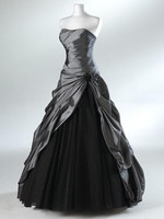 Vintage Style Strapless Taffeta Tulle A Line Black Wedding Dress Bridal Gowns Custom Made Size 2