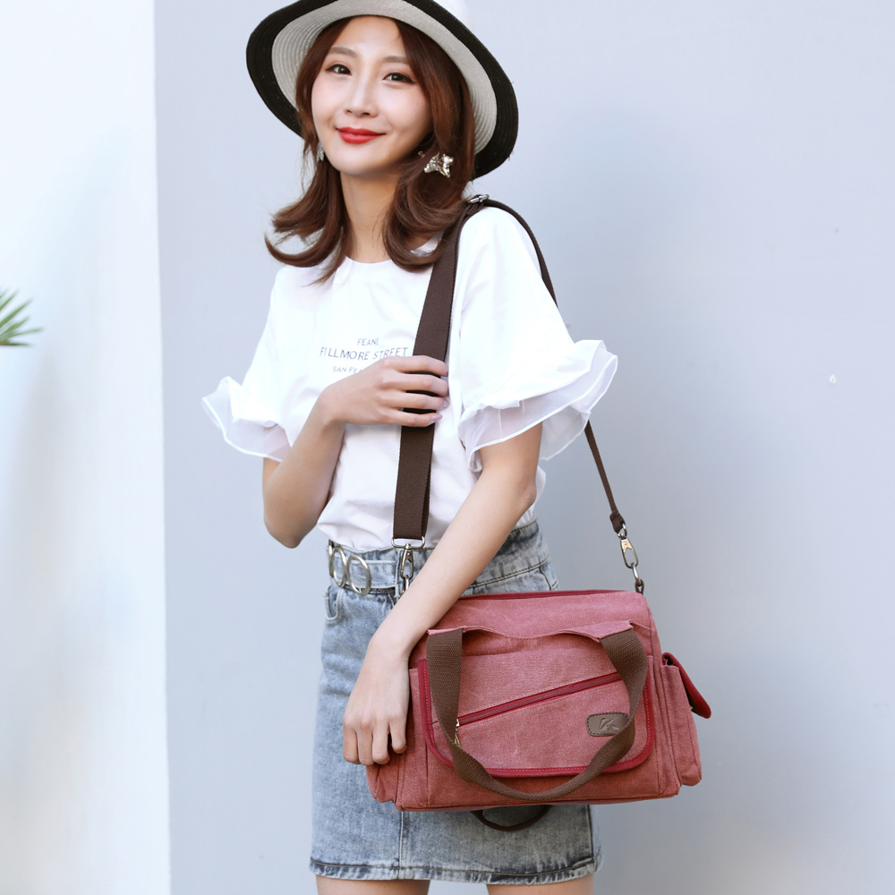 Image 4 - Woman Canvas Handbags Casual lady Hobos Single Shoulder Bags Girls Crossbody Pack Vintage Solid Multi pocket Ladies Totes BolsasTop-Handle Bags   -