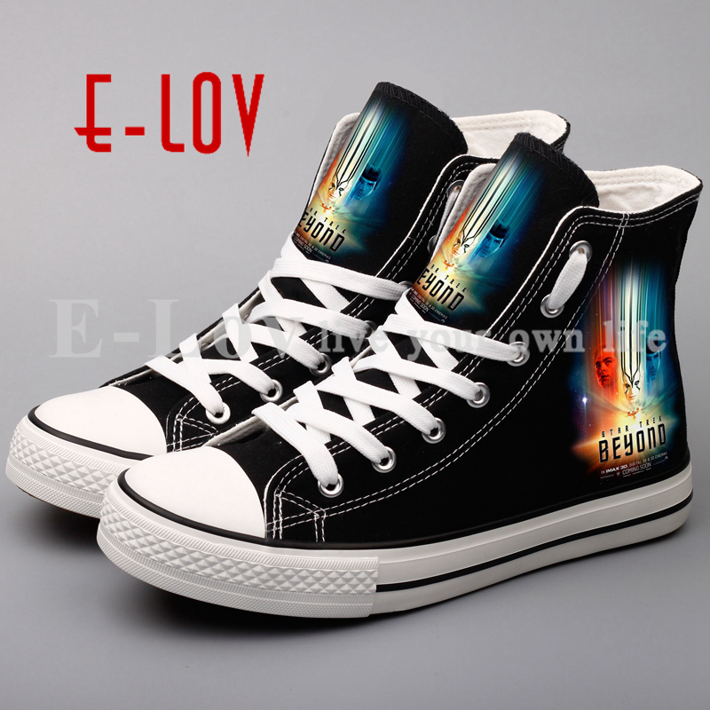 E-LOV Unisex Canvas Shoes Fashion Personalized Lace-up Outdoor Walking Shoe Custom DIY Casual Women Flat Shoes e lov new arrival hand drawing women canvas shoes adults unisex flats casual shoe dream graffiti painted espadrilles