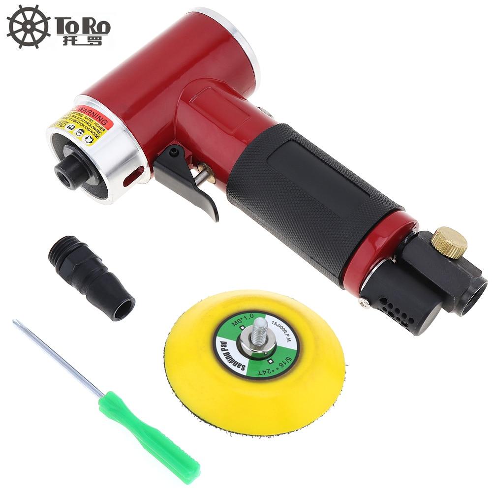 TORO 3 Inch Mini Straight heart Type High speed Pneumatic Sanding Machine with Push Switch and Sanding Pad for Polishing tool