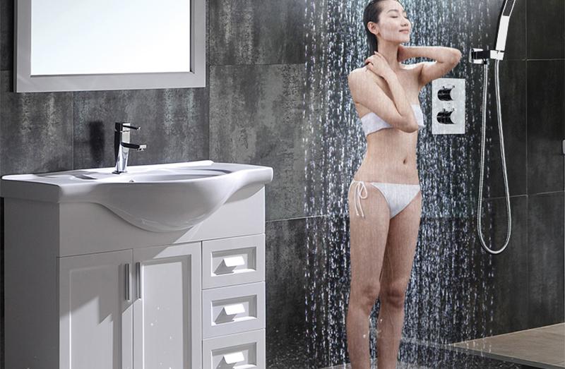 DCAN 10 Rainfall Shower Head System Polished Chrome Bath Wall Mounted Shower Faucet Bathroom Luxury Rain Mixer Shower Combo Set (28)