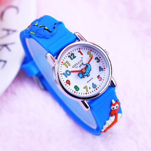 2018 children boys 3D cartoon dinosaur silicone quartz bracelet watches students