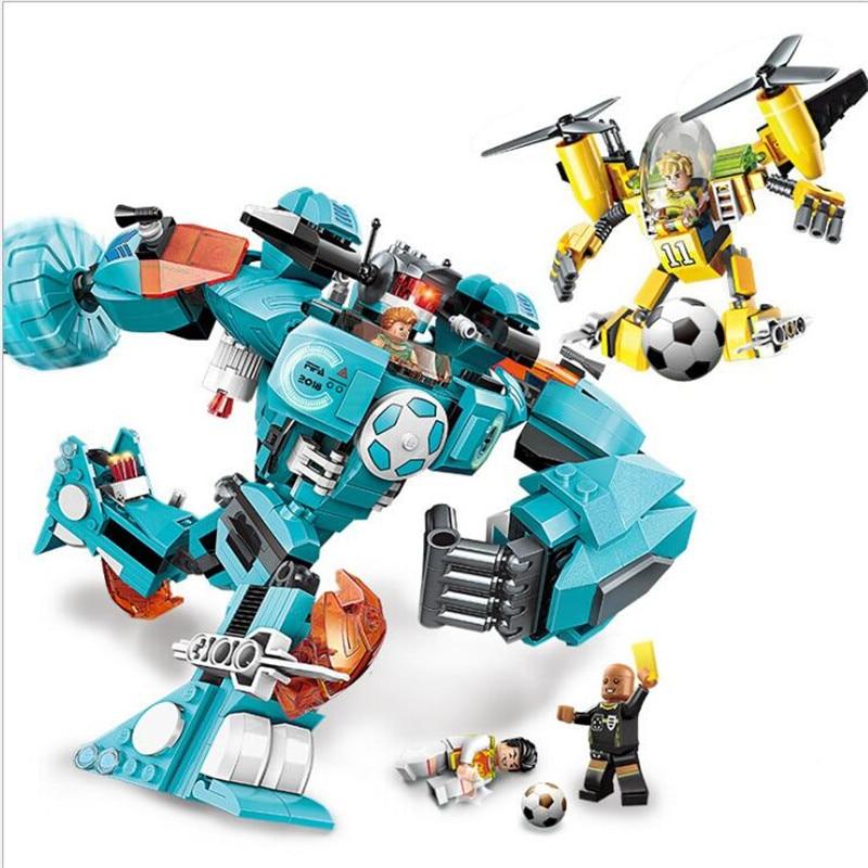 Enlighten 525pcs Super Soccer Ergent Runback Robot Building Blocks Bricks Educational Toys Children Gift Compatible