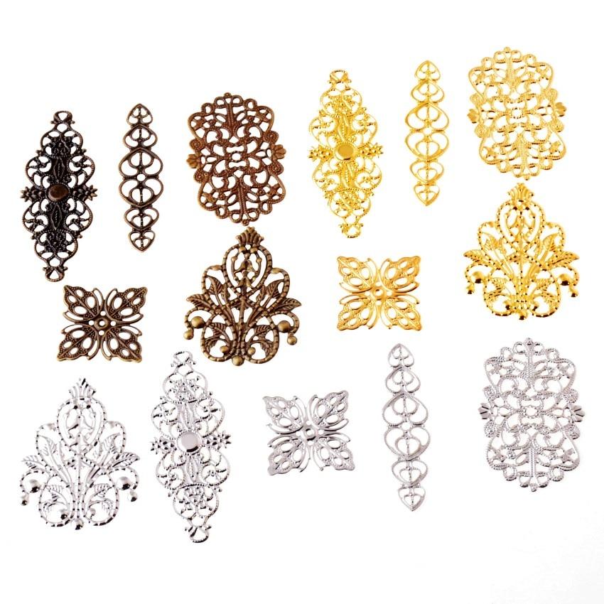 Free Shipping 10Pcs Mixed Bronze Tone Filigree Wraps Connectors Metal Crafts Gift Decoration DIY 25x25mm-61x24mm