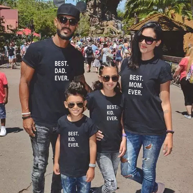 BEST Dad Mom Kids Ever Family T Shirt Clothes Mother Daughter Father Son Matching Outfits Funny Look Mommy And Me Baby Girl Mama