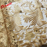 African Net Laces Embroidered with stones and beads JYF116 , Elegant 3D Gold French Tulle Lace Trim for Dress Accessories