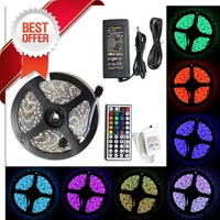 led strip light 5050 RGB tape set waterproof ip65 300led 5m with remote controller 12V 5A power supply adapter color changing