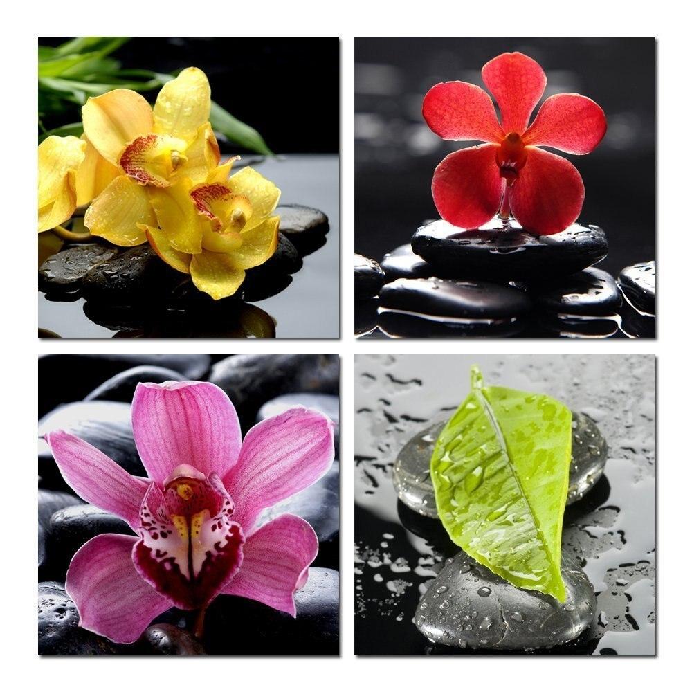 zen decorating ideas promotion shop for promotional zen decorating banmu zen basalt canvas wall art set of 4 orchid flower canvas prints for home decoration peaceful zen flower in stone wall art