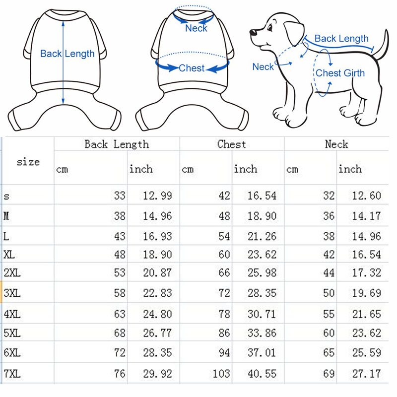 Dog Waterproof Size Chart Clothes Online