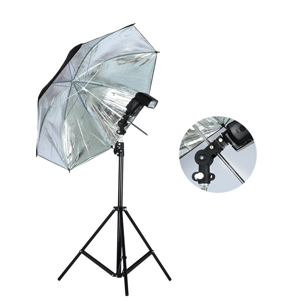 Image 2 - Viltrox Photo Studio Lighting Kit 1.9M Tripod Light Stand +  Flash Bracket Holder + 33'' Soft Black silver reflective umbrella-in Photo Studio Accessories from Consumer Electronics