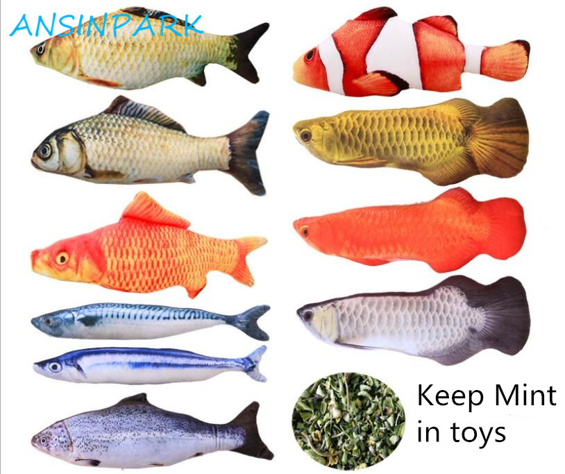 ANSINPARK cat fish toy plush stuffed dog toy fish shaped cat toy scratching Lovely Pet cats catnip Scratch resistance 1pcs p999