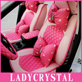 Ladycrystal Таможня Милый Розовый Сиденье Автомобиля Включает Мягкий PU Кожа Подушки Сиденья Авто Для Девушки Женщины Дамы